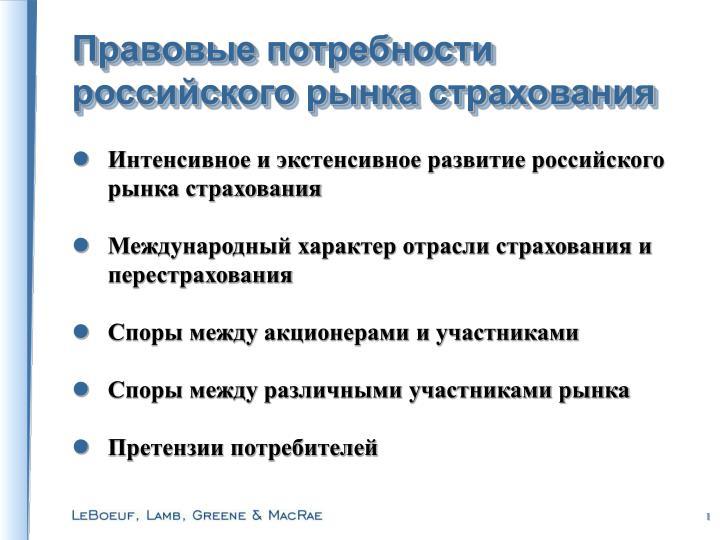 Правовые потребности российского рынка страхования