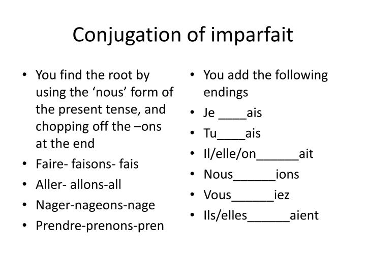Conjugation of imparfait