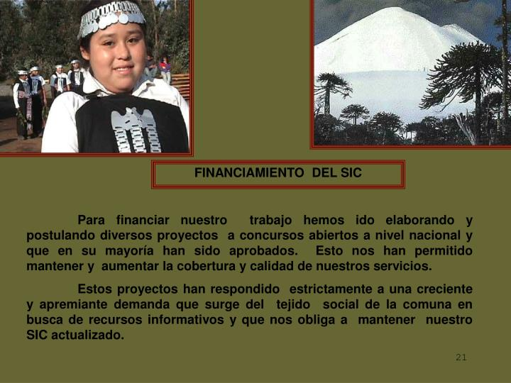FINANCIAMIENTO  DEL SIC