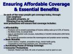 ensuring affordable coverage essential benefits