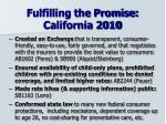 fulfilling the promise california 2010