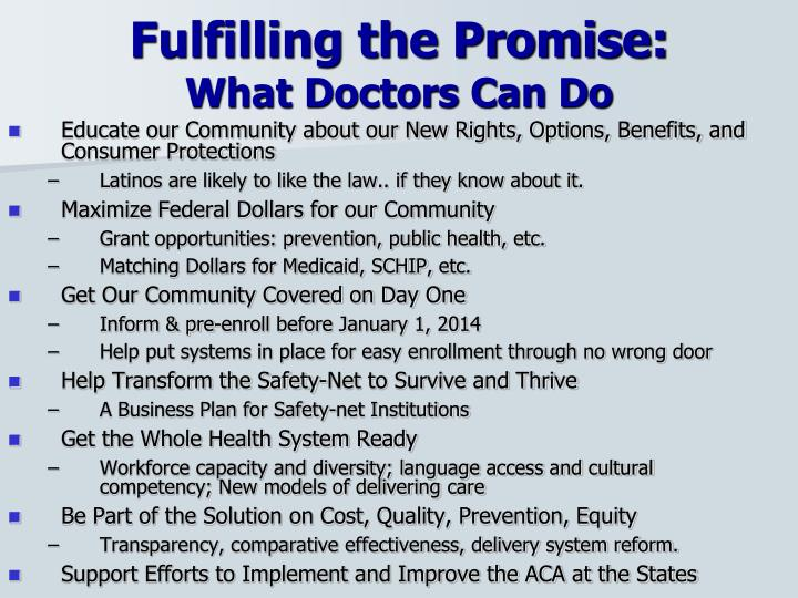 Fulfilling the Promise: