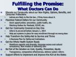 fulfilling the promise what doctors can do