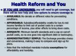 health reform and you1