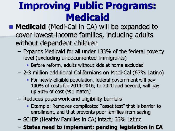 Improving Public Programs: Medicaid
