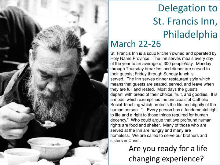 Delegation to St. Francis Inn, Philadelphia
