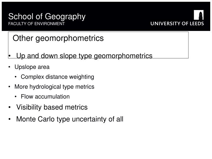 Other geomorphometrics