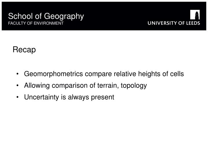 Geomorphometrics compare relative heights of cells