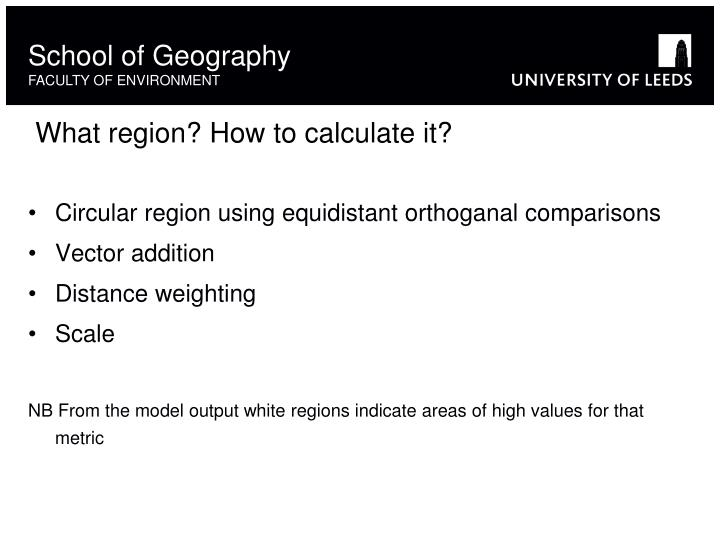 Circular region using equidistant orthoganal comparisons