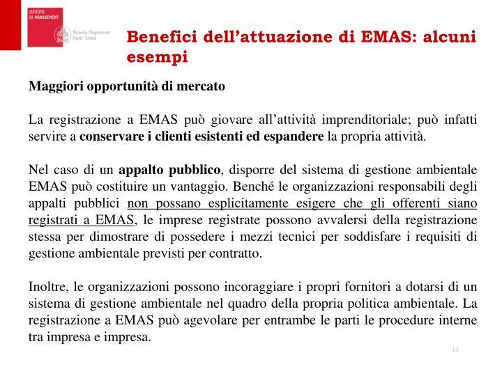 Benefici dell'attuazione di EMAS: alcuni esempi