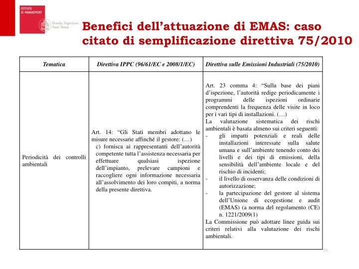 Benefici dell'attuazione di EMAS: caso citato di semplificazione direttiva 75/2010