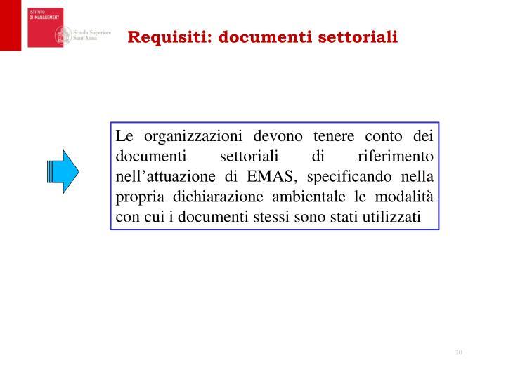 Requisiti: documenti settoriali