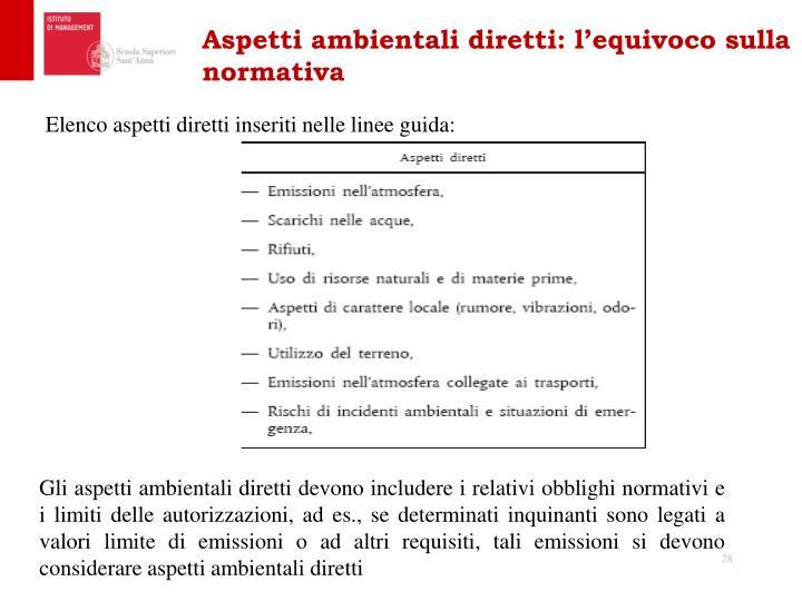 Aspetti ambientali diretti: l'equivoco sulla normativa