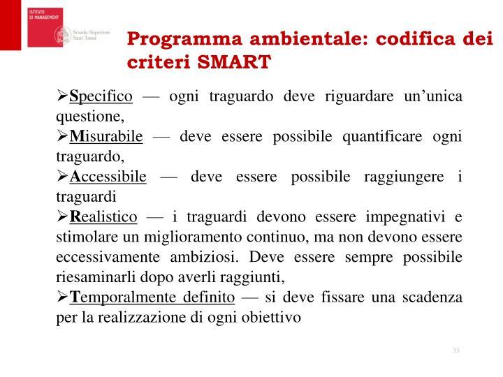 Programma ambientale: codifica dei criteri SMART