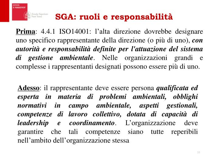 SGA: ruoli e responsabilità