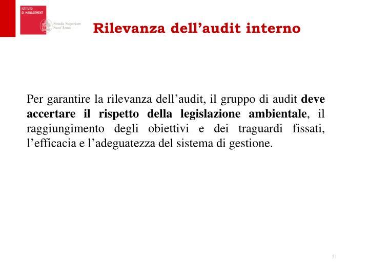 Rilevanza dell'audit interno