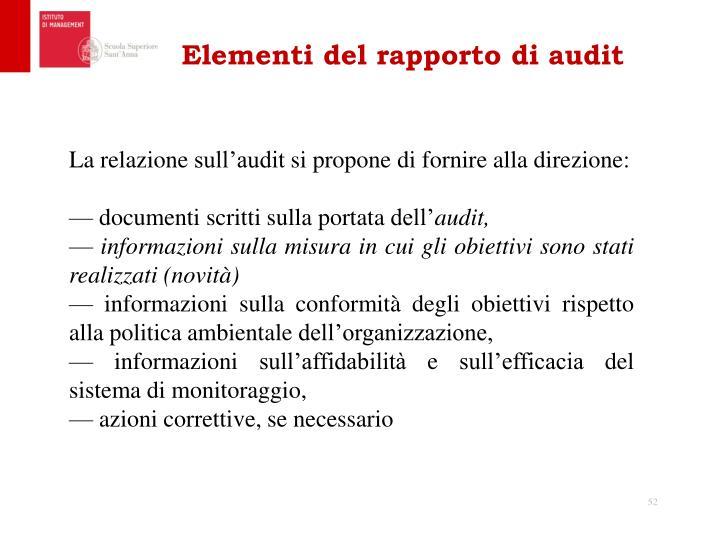 Elementi del rapporto di audit