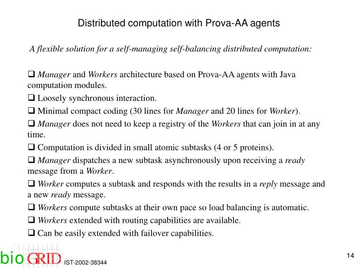 Distributed computation with Prova-AA agents
