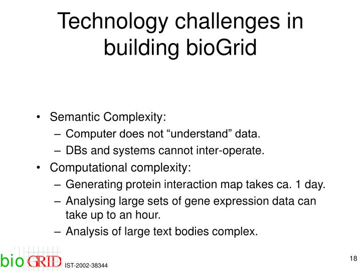 Technology challenges in building bioGrid