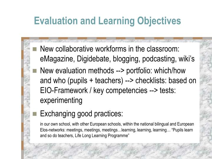 Evaluation and Learning Objectives