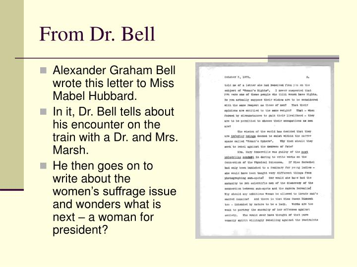 From Dr. Bell