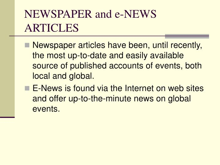 NEWSPAPER and e-NEWS ARTICLES