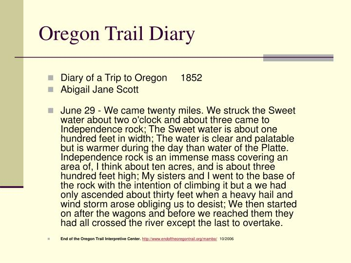 Oregon Trail Diary