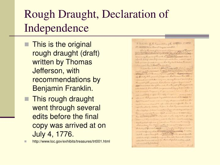 Rough Draught, Declaration of Independence