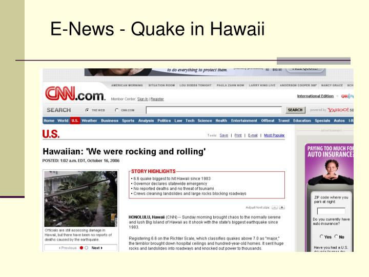 E-News - Quake in Hawaii