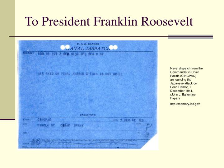 To President Franklin Roosevelt