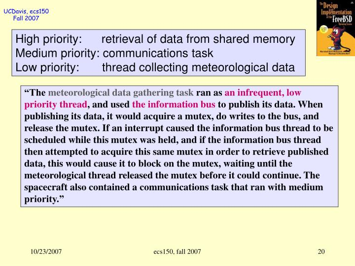 High priority:      retrieval of data from shared memory