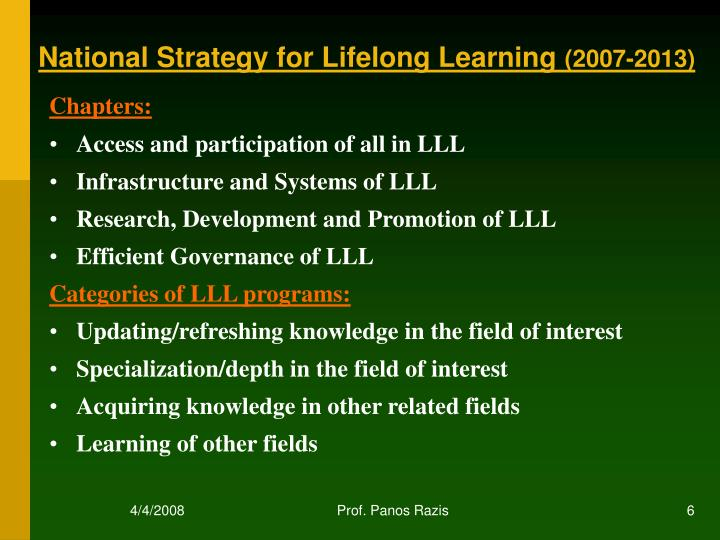 National Strategy for Lifelong Learning
