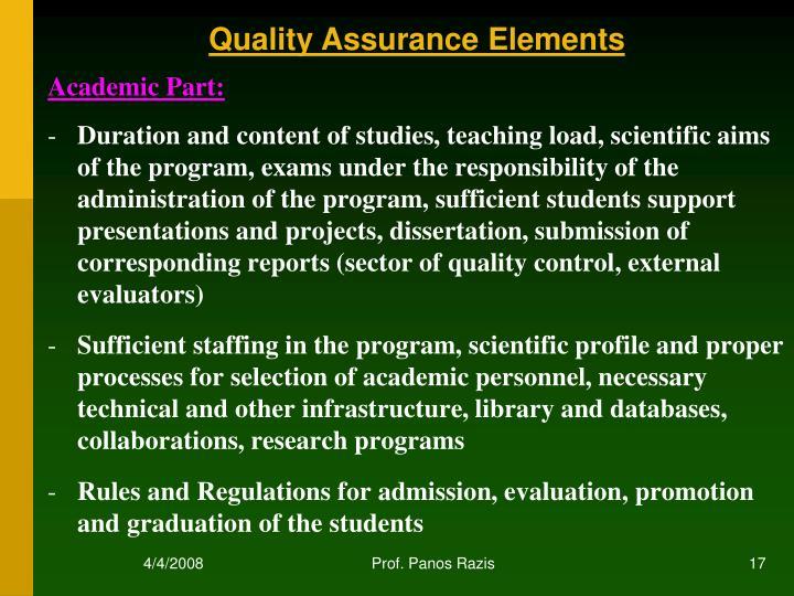 Quality Assurance Elements