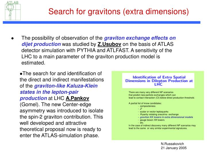 Search for gravitons (extra dimensions)