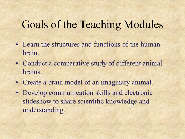Goals of the teaching modules