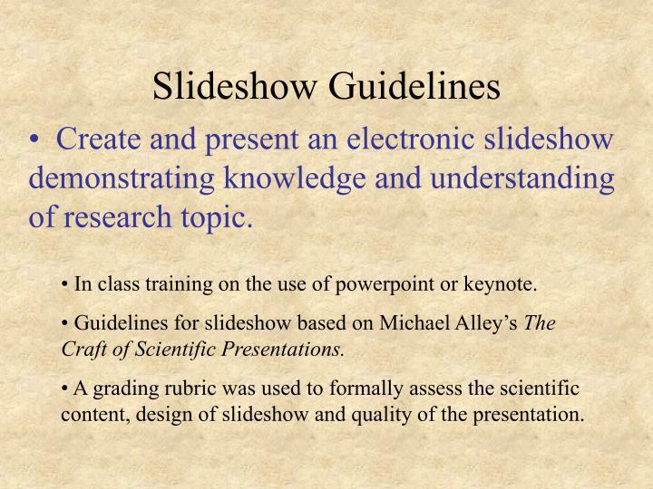 Slideshow Guidelines