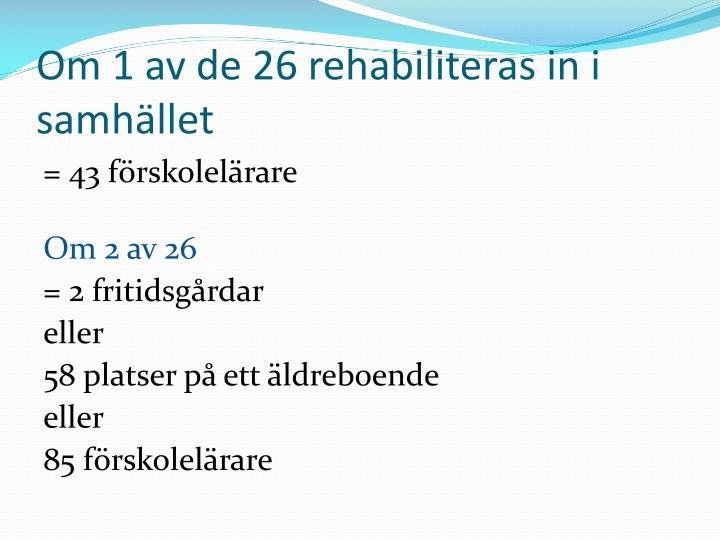 Om 1 av de 26 rehabiliteras in i samhället