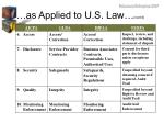as applied to u s law cont d