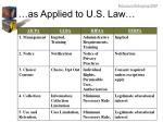 as applied to u s law