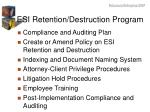 esi retention destruction program