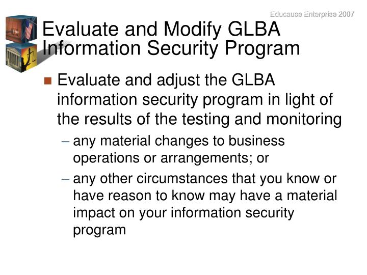 Evaluate and Modify GLBA Information Security Program
