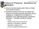 failure to preserve sanctions for spoliation