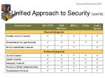 unified approach to security cont d