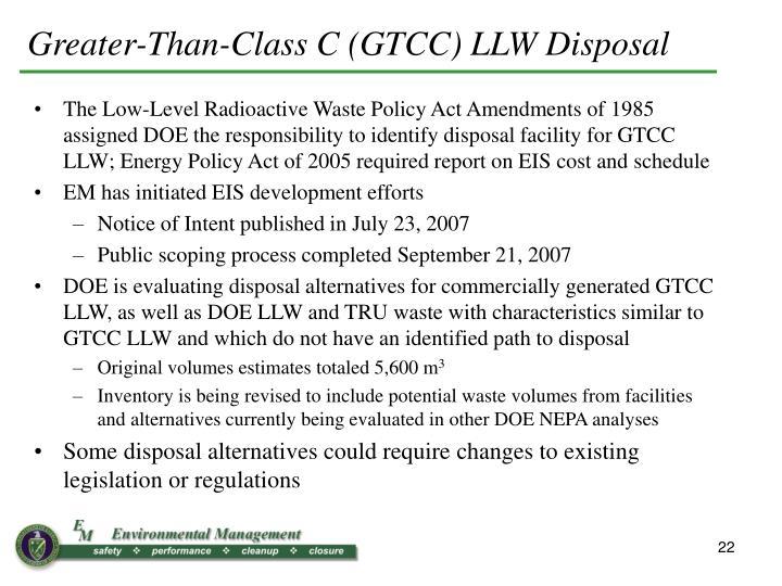 Greater-Than-Class C (GTCC) LLW Disposal