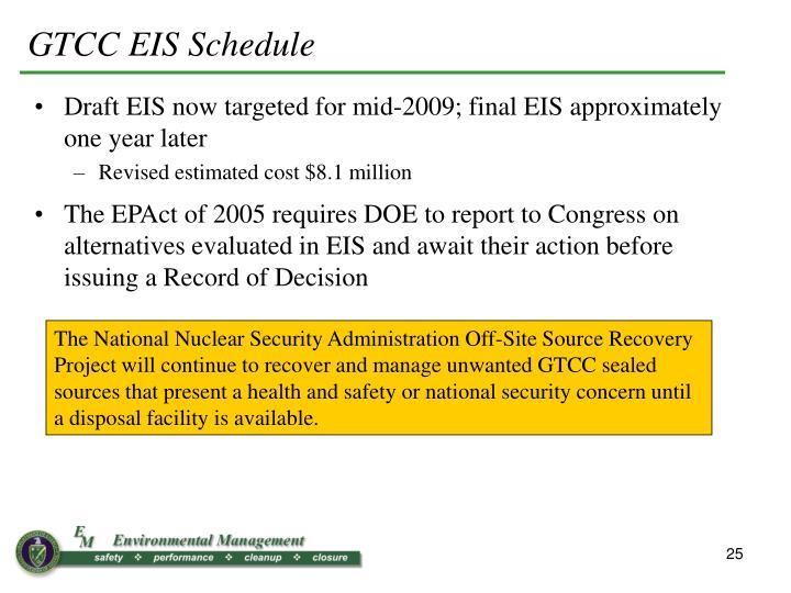 GTCC EIS Schedule