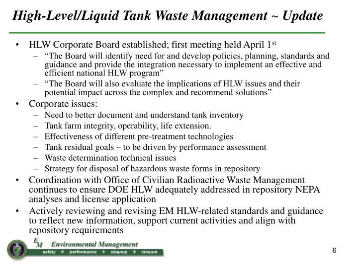High-Level/Liquid Tank Waste Management