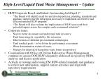 high level liquid tank waste management update