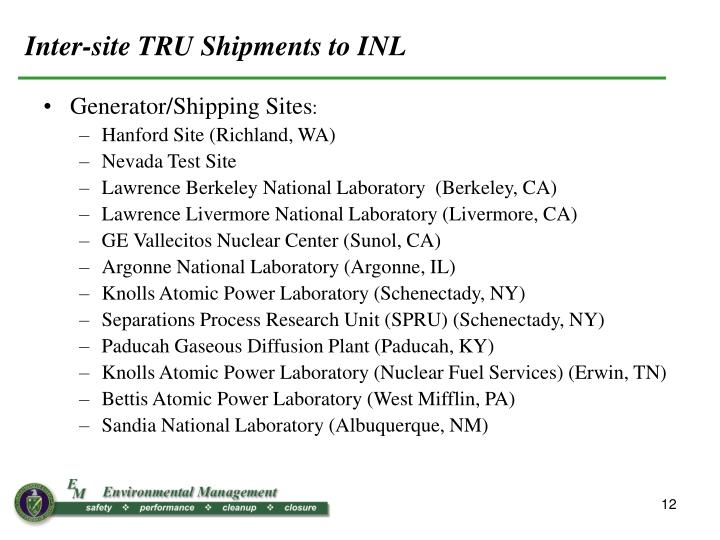 Inter-site TRU Shipments to INL