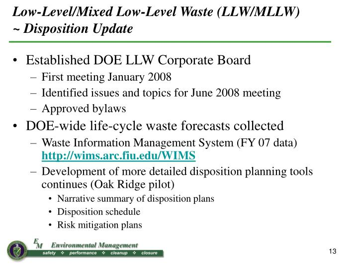 Low-Level/Mixed Low-Level Waste (LLW/MLLW)