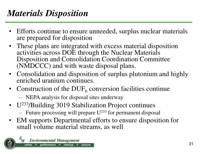 Materials Disposition